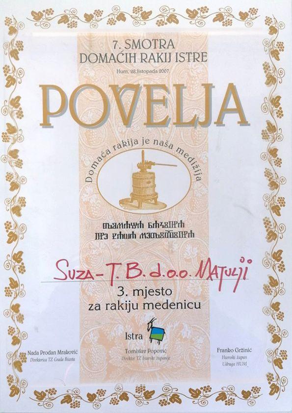 7 smotra domaćih rakij Istre - Povelja 3 mjesto za rakiju medenicu | Suza T.B.