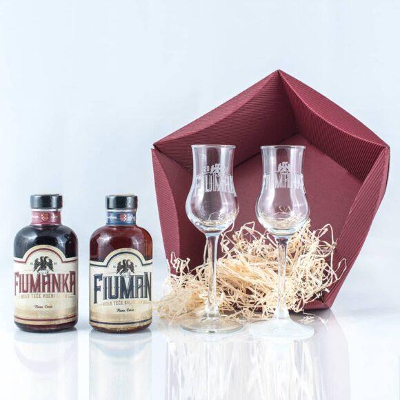 Poklon paket Mići Fiuman i Fiumanka 0,2 + dvije čašice otpakirano - Suza T.B. Croatian Spirit