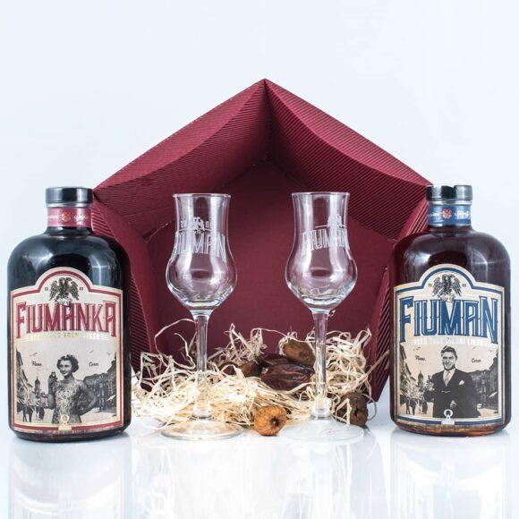 Poklon paket Fiuman i Fiumanka 0,7 + dvije čašice otpakirano - Suza T.B. Croatian Spirit